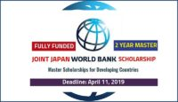 Joint Japan World Bank graduate funding opportunities for Japan and Developing Countries Students, 2019