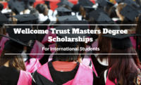 Wellcome Trust Masters Degree Scholarships for International Students UK, 2020