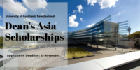 Dean's Asia Scholarships at University of Auckland in New Zealand, 2020