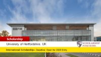 University of Hertfordshire Vice-Chancellor's Scholarships for International Students in UK, 2019-2020