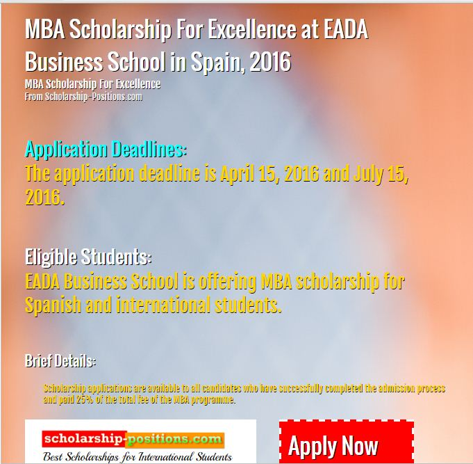 MBA Scholarship for excellence at EADA