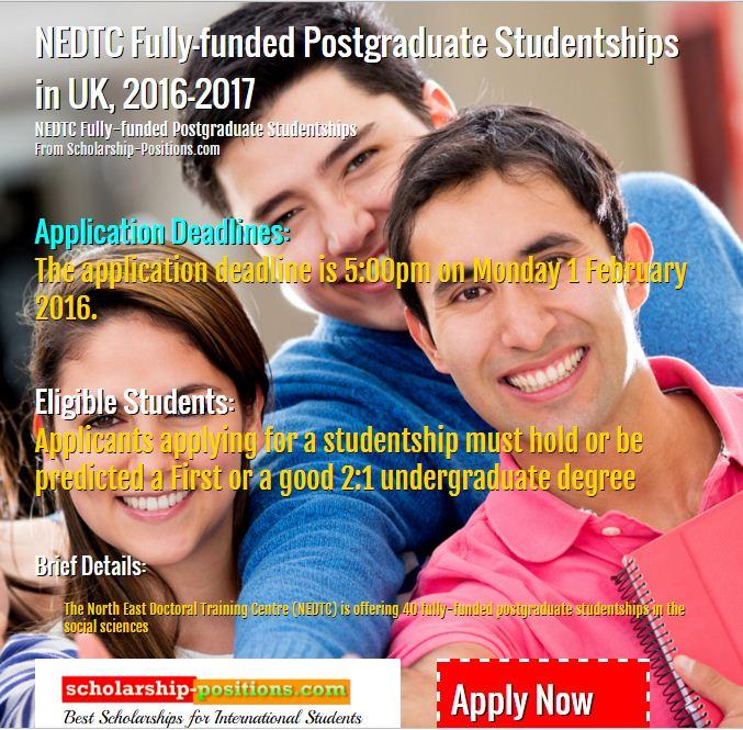 NEDTC Fully-funded studentship