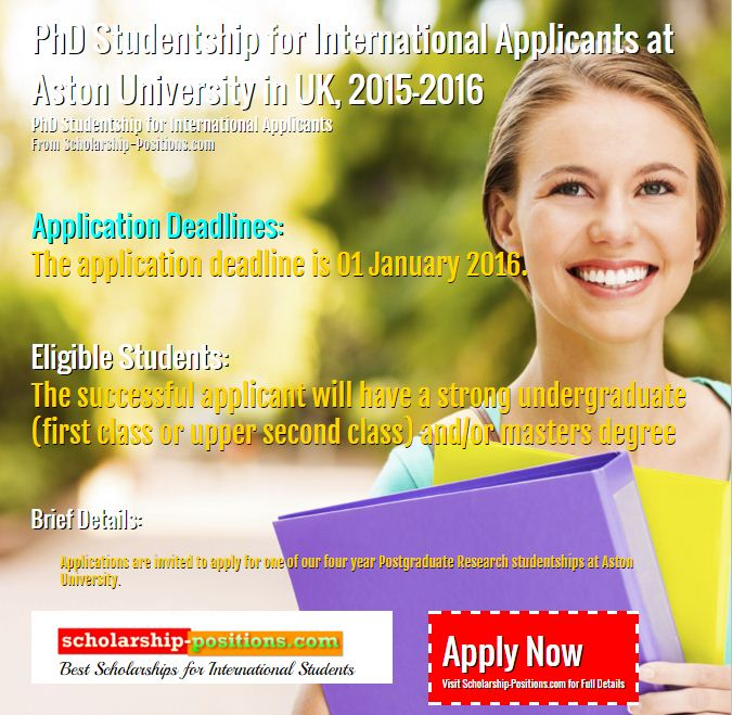 PhD studentship for international applicants