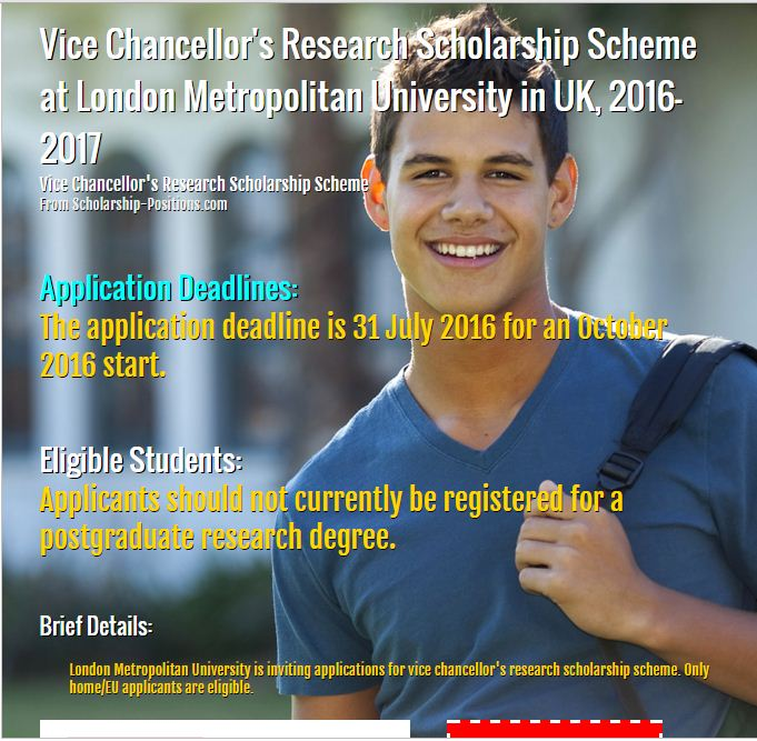Vice Chancellor's research scholarship