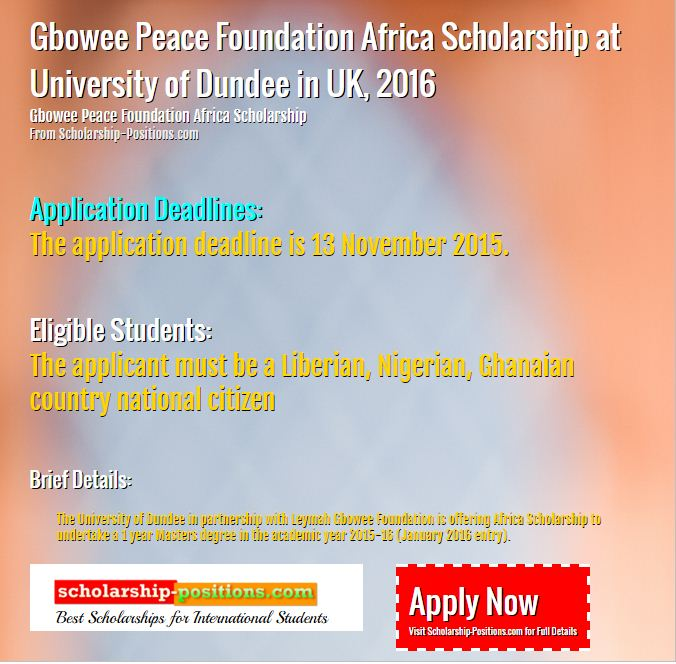 Gbowee Peace Foundation africa scholarship