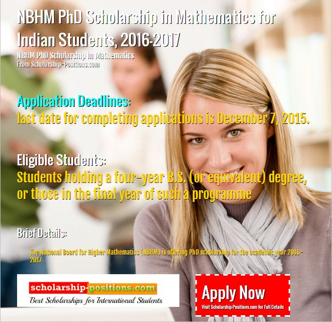 NBHM PhD Scholarship for Indian Students, 2016-2017