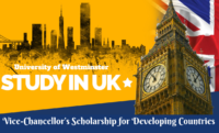 Vice-Chancellor's funding for Developing Countries at University of Westminster in UK, 2020