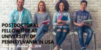 Postdoctoral Fellowship at University of Pennsylvania in USA, 2019