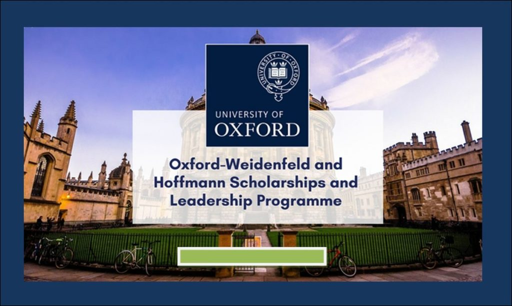 Oxford-Weidenfeld and Hoffmann Scholarships and Leadership Programme in UK, 2019
