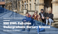 550 UWL Full-time Undergraduate Bursary Scheme for UK and EU Students, 2020