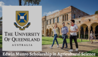 Edwin Munro Scholarship in Agricultural Science at University of Queensland in Australia, 2020