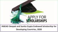 INSEAD Deepak and Sunita Gupta Endowed funding for Developing Countries, 2020