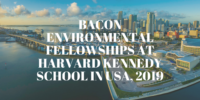 Bacon Environmental Fellowships at Harvard Kennedy School in USA, 2019