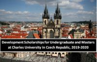 Development Scholarships for Undergraduate and Masters at Charles University in Czech Republic, 2019-2020