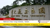 National Chiao Tung University International Student Scholarship in Taiwan, 2019