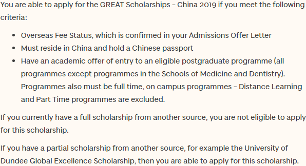 GREAT Scholarships 2019 – East Asia (China)