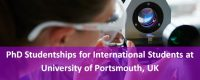 PhD Studentships for International Students at University of Portsmouth, UK, 2019