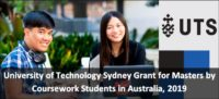 University of Technology Sydney Grant for Masters by Coursework Students in Australia, 2019