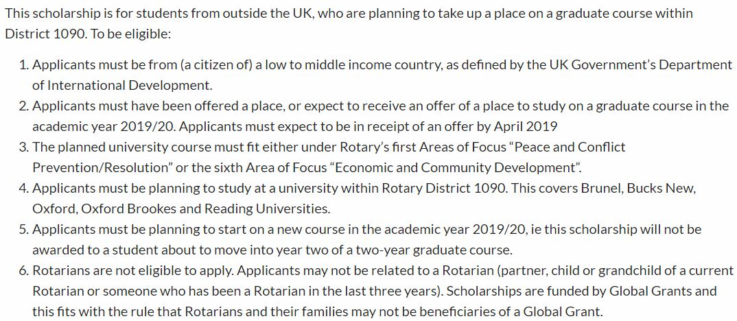 Rotary Foundation Graduate programme for Study in USA, 2019-2020