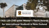 FASS 120-/240-point Master's Thesis Awards for International Students in New Zealand