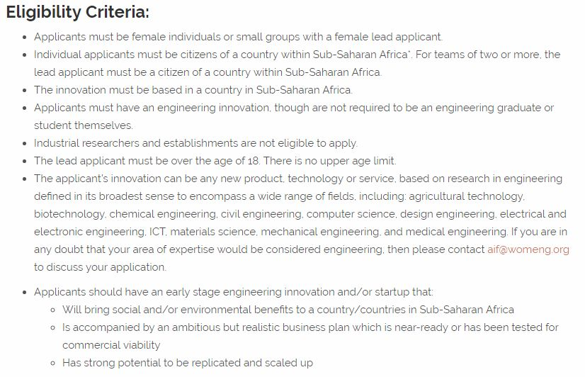 WomEng/Royal Academy of Engineering's Africa Innovation Fellowship, 2019