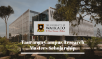 Tauranga Campus Research Masters funding for International Students inNew Zealand