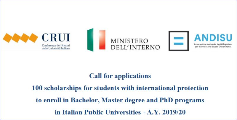 100 Scholarships A.Y. for Students with International Protection in Italy, 2019-2020