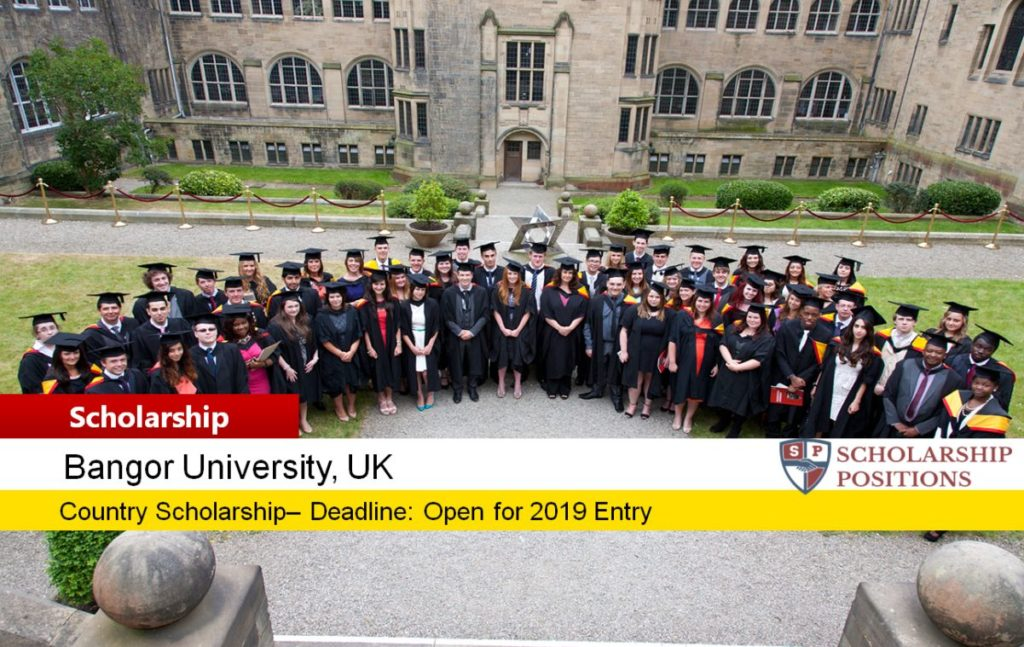 Bangor University Country Scholarships for International Students in UK, 2019-2020