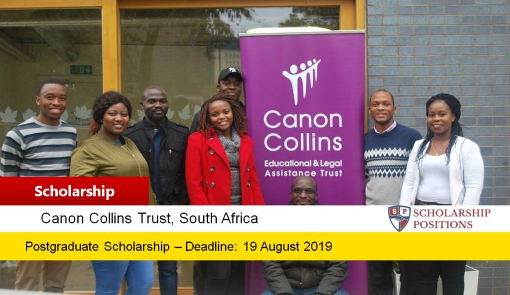 Canon Collins Scholarships for Postgraduate Study In South Africa, 2020