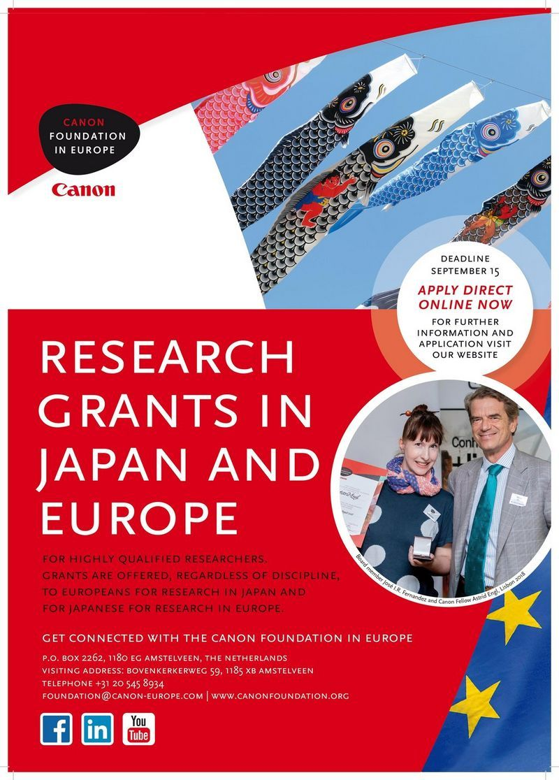 Canon Research Fellowships for Europeans in Netherlands, 2019