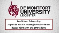 Fee Waiver funding for the UK and EU Students at De Montfort University, 2019