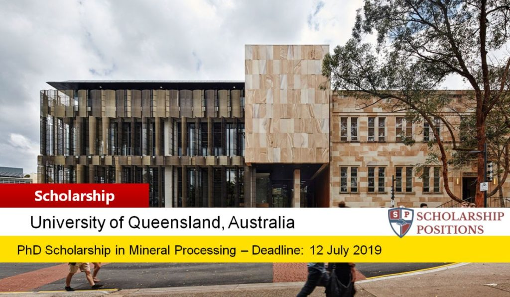 PhD Scholarship in Mineral Processing at University of Queensland, Australia