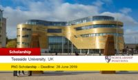 PhD Studentship for International Students at Teesside University in UK, 2019