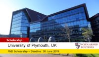 University of Plymouth PhD Studentship for International Applicants in UK, 2019
