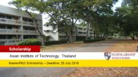 AIT Fellowship for International Students in Thailand, 2019