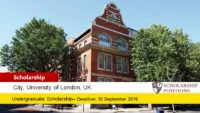 City, University of London Global Leaders Scholarship in UK, 2019
