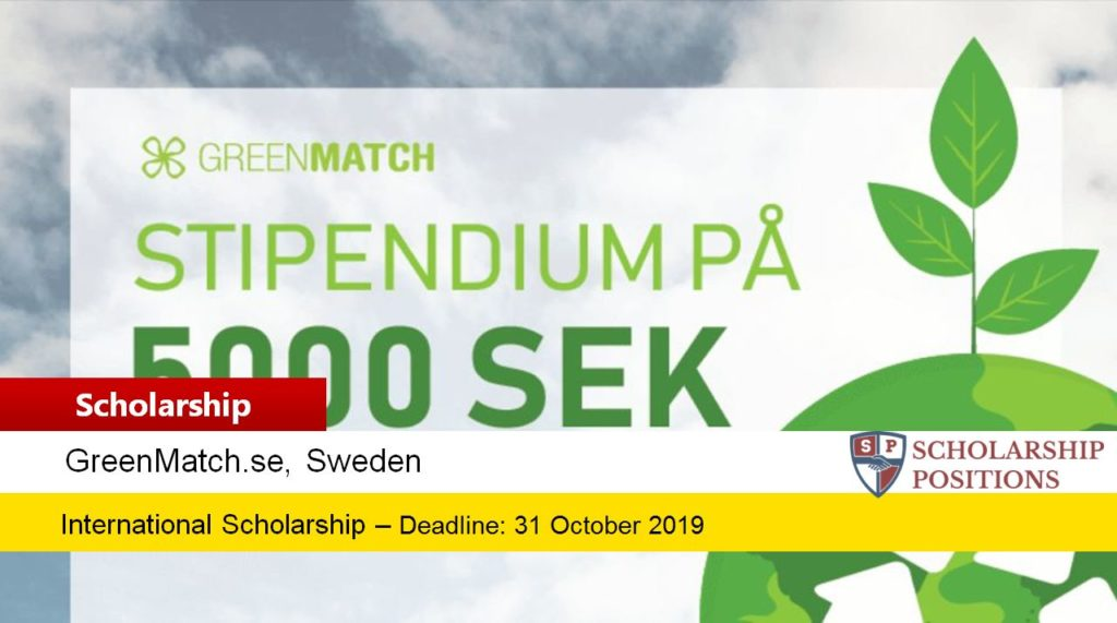 GreenMatch funding for International Students in Sweden, 2019