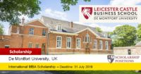 LCBS MBA Scholarships for International Students in UK, 2019-2020