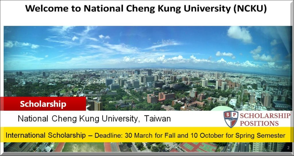 NCKU Distinguished International Student Scholarship in ...