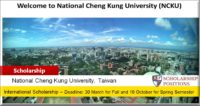 NCKU Distinguished International Student Scholarship in Taiwan, 2019