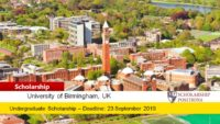 Poynting Excellence funding for Overseas Students in UK, 2019