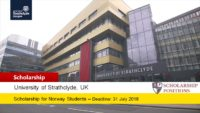 Strathclyde Business School Deans Norway Scholarship in UK, 2019