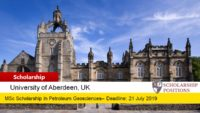 University of Aberdeen BP MSc Integrated Petroleum Geosciences Scholarship in the UK, 2019