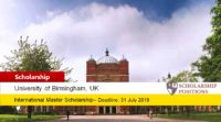 University of Birmingham Aviva funding for International Students in UK, 2019