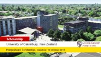 University of Canterbury William and Ina Cartwright funding for International Students
