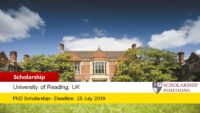 University of Reading PhD Studentship for the UK and EU Students, 2019
