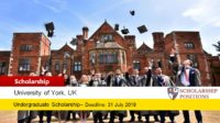 University of York Biology Department Undergraduate International Scholarship in UK, 2019