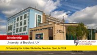Vice-Chancellor's Award for Indian Students at the University of Bradford in UK, 2019