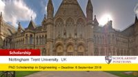 Fully-Funded PhD Position in Engineering for UK and EU Students at Nottingham Trent University