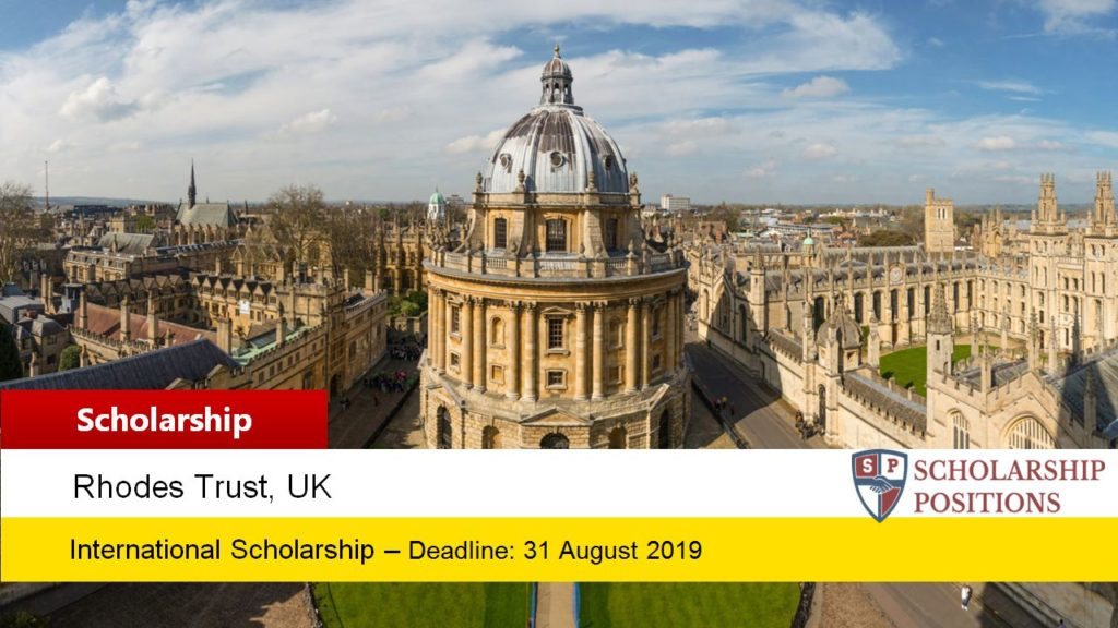 Fully-Funded SJPL Rhodes Scholarships at the University of Oxford in UK, 2019-2020